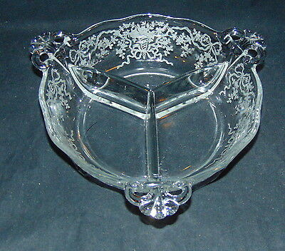 "Fostoria CORSAGE CRYSTAL *7"" 3 PART ROUND RELISH * #2496*"