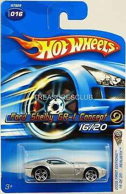 Hot Wheels Ford Shelby GR-1 Concept 2005 First Editions #G7929 New Grey 3+ 1:64