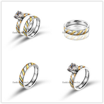 Wholesale 20Set=40Pcs Stainless Steel Cubic Zircon Gold&Silver Rings Party Lover