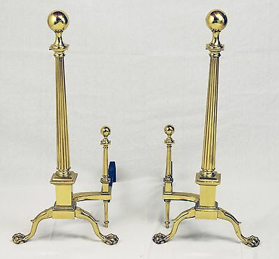 Pair of Neoclassical Gilt Metal Andirons Charleston Style Large Claw and Ball