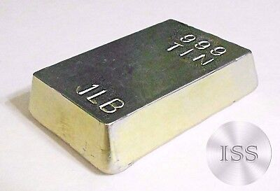 Fine .999 Tin 1 lb Bar, Hand Poured and Stamped, Uniquely Crafted Metal Bullion