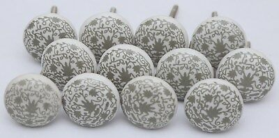 Grey and White Flower Design Ceramic Cupboard Door Knobs Kitchen Knob