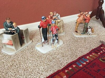 """Norman Rockwell Four Seasons """"Dads (Daddy's) Boy"""" Figures #1716 Set Of 4 Japan"""