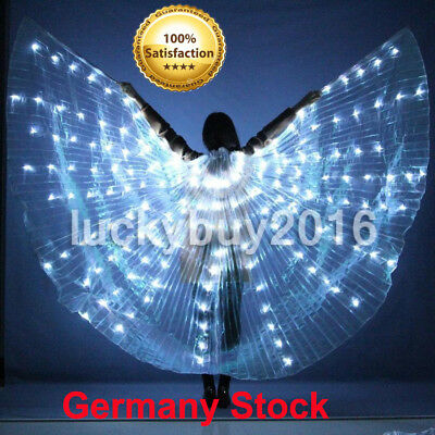 Women LED Light Isis Wings Belly Dance Costumes 360° Egyptian Sticks white stock