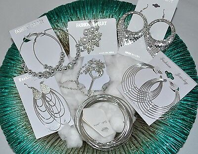 Fashion Jewelry lots 7 Pcs Mixed Silver Plated Earrings wholesale lot  #21