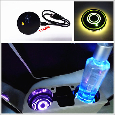 2x Car Cup Holder Bottom Pad LED Light Cover Trim Atmosphere Lamp Gradual Change