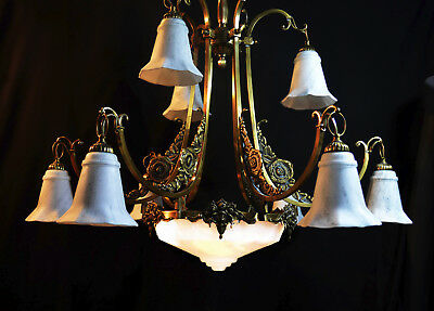 iconic 1940s French cast bronze chandelier 2 tier 9 arm & central Plafonier