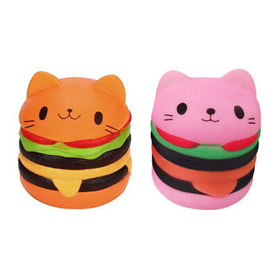 Lovely Cat Head Squishy Toy Burger Simulation Food Toys Soft Slow Rebounce Toys