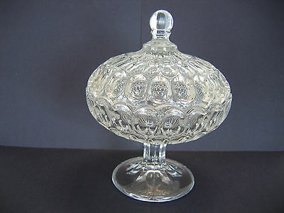 Antique EAPG Flint Glass Thumbprint Argus Footed Covered Compote c1850