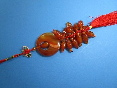 Carnelian {Red Jade) Asian Carved Hanging Decoration