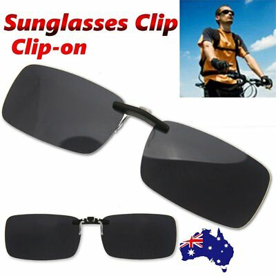 Frameless Driving Polarized Clip-on Glasses UV400 Lens Sunglasses Dark Grey