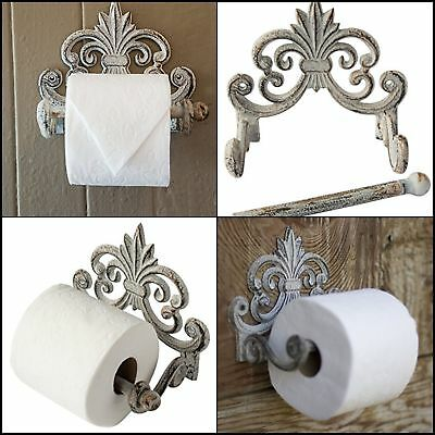 Toilet Paper Roll Holder Cast Iron Wall Mounted Tissue Vintage Antique White NIB