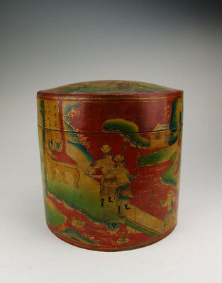 One Wooden Casket Painted with traditional figures pattern