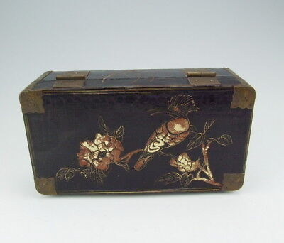 Chinese Antique Lacquer Wooden Jewelry Box with Bird Pattern