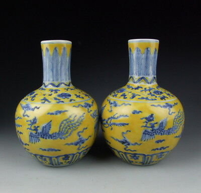 Pair Of China Antique Yellowblue Color Porcelain Vases Phoenix