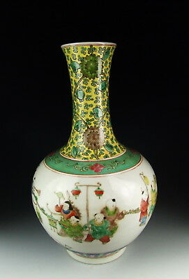 Chinese Antique Famille Rose Porcelain Vase with Boys Pattern