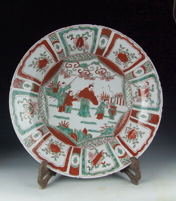 China Antique Red&Green Colored Porcelain Plate with Pattern