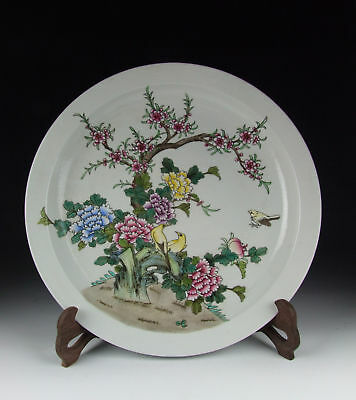 Chinese Antique Famille Rose Porcelain Plate w Flower and Bird