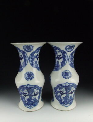 Pair of Chinese Antique B&W Porcelain Gu-shaped Vase with Boys