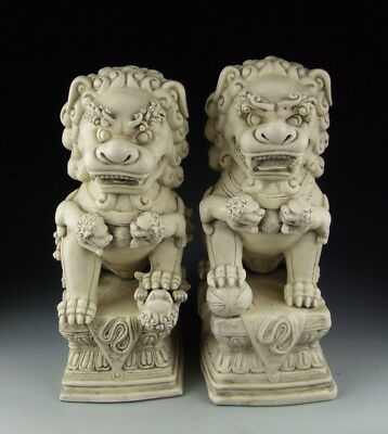 Amazing Pair of China Antique Dehua Ware Porcelain Foo Dogs Big