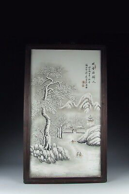 Nice Chinese Antique Famille Rose Porcelain Panel w Snow Scene
