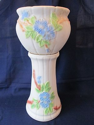 JARDINIERE & PEDESTAL! Vintage ROBINSON RANSBOTTOM art pottery: HAND DECORATED!