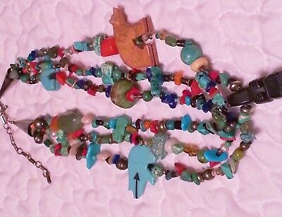 NAVAJO Custom-Made TURQUOISE Trade Bead Necklace~Bear Fetish~Rare~LOVELY!!!