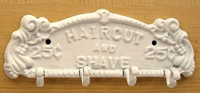 Haircut and Shave Sign Plaque Cast Iron Hook Wall Towel Coat Rack White