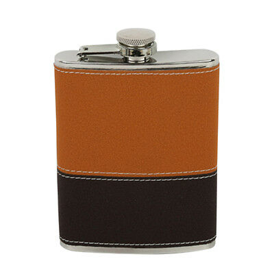 8oz Leather Cover FLASK Stainless Steel Screw Cap Hip Pocket Liquor Wine #3