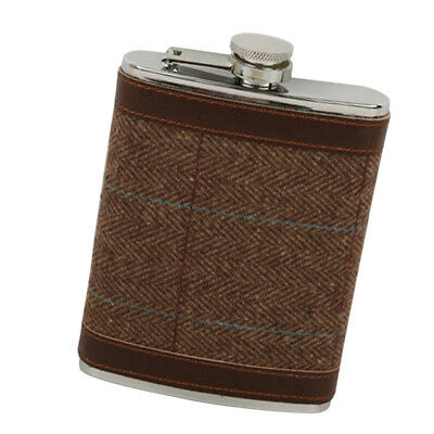 8oz Leather Cover FLASK Stainless Steel Screw Cap Hip Pocket Liquor Wine #5