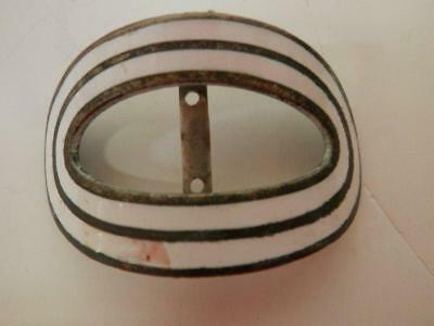 Antique Art Deco Metal Shoe Buckle  Signed F.N. & Co - White & Gold Oval