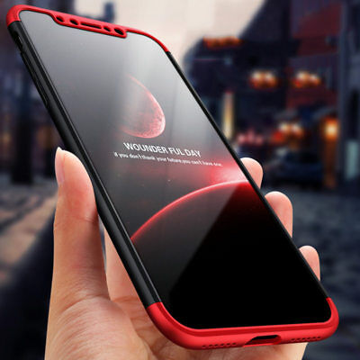 360 Degree Full Body Protective Hard Case Cover with Tempered Glass for iPhone X