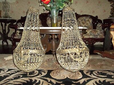 Huge Antique Crystal Prisms French Wall Lamp Ribbons Bows Garland Dasies Shabby