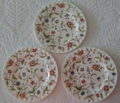 "3 ~ 1989 Royal Doulton Minton Tapestry Bread & Butter Plates 6.5"" New"