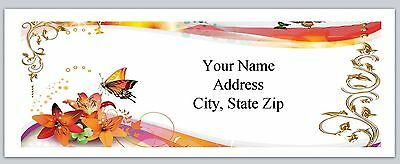 30 Personalized Address Labels Flowers Butterfly Buy 3 get 1 free (ac 940)