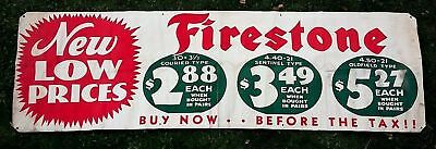 """1930'S Firestone Tires Advertising Large Canvas Banner 3x10 """"Buy Before the Tax"""""""