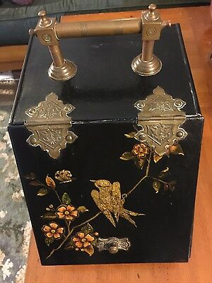Great Antique Hand Painted Tole Victorian Coal Scuttle Hod Fire Place Bin