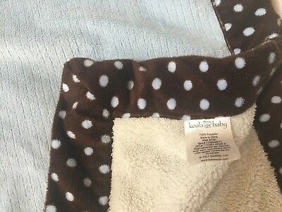 Koala Baby Plush Blue Ribbed Brown Dot Ivory Cream Babies R Us Boy Crib Blanket