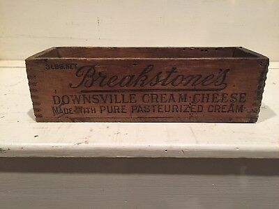 Breakstones Downsville Cow Cream Cheese Wood Box Crate Vintage Graphics 3 LB