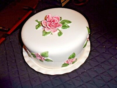 Hand Painted Large Porcelain Cake Platter w/Lid Made in Portugal w/3D Roses