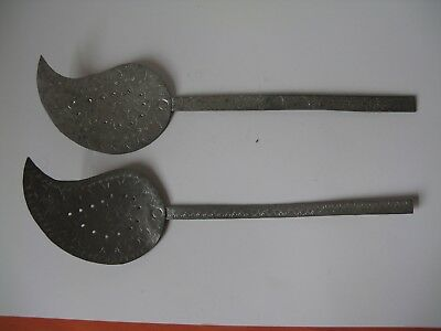 antique PAIR OF Large  Forged Copper ENGRAVED  Ladel 15.5  long