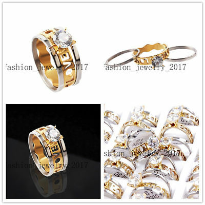 Wholesale Lots 20Set=60X Pair Love Cubic Zirconia Stainless Steel Gold Ring Gift