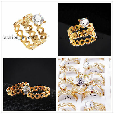 Wholesale Lot 20Set=40X Pair Heart Cubic Zirconia Stainless Steel Gold Ring Gift