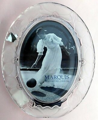 "Waterford Crystal Marquis 5"" x 7"" Floral Oval 5X7 Picture Photo Frame Beautiful!"