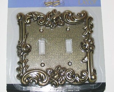 Antique Brass Shabby Rose Chic Double Switch Toggle Plate Cover Ornate Scrolls