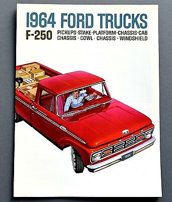 Original 1964 Ford F-250 Pickup & Chassis Cab Truck Brochure ~ 6 Pages ~ 64Fpu2