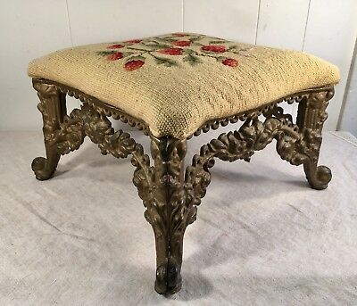 Vintage Antique Fancy Victorian Cast Iron Heavy Foot Stool