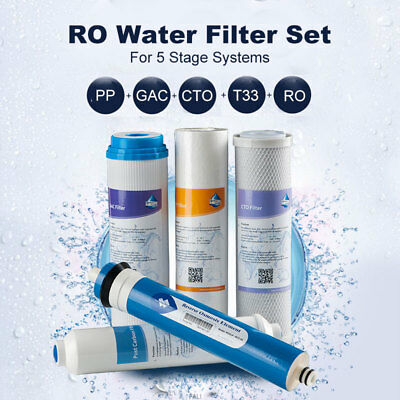 5 Stage Reverse Osmosis Replacement Water Filters Kit with 50GPD 1812 Membrane