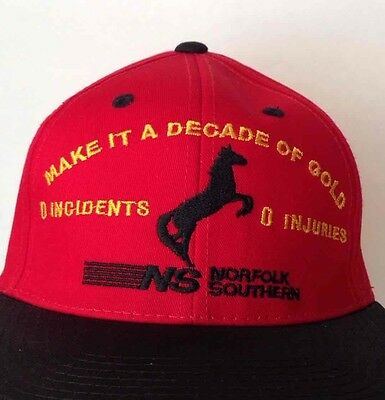 Norfolk Southern Red Snapback Hat Make A Decade Of Gold Safety Award Cap NEW