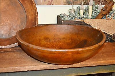 ANTIQUE PRIMITIVE 1800's HAND TURNED WOODEN DOUGH BOWL PERFECT PATINA BEST AAFA